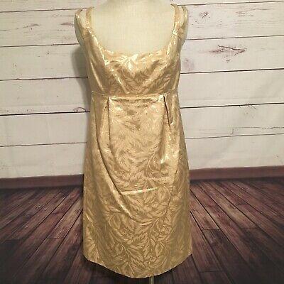 NWT Donna Morgan yellow gold dress sleeveless scoop neck size 10 empire $180 Morgan Scoop Neck