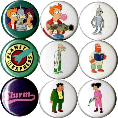 Futurama set of 9 pins buttons Fry Bender Leela Zoidberg Professor Amy Hermes