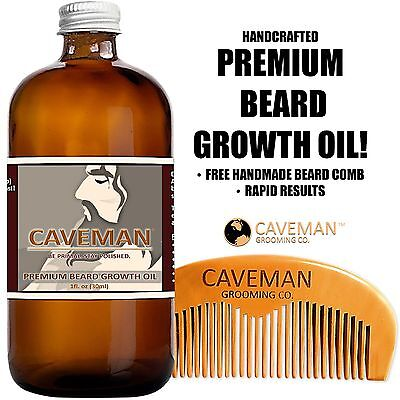 Handcrafted Caveman� BEARD GROWTH OIL + BEARD COMB * RAPID RESULTS!! Bay Rum