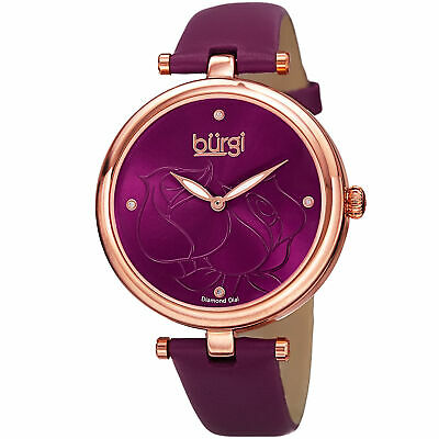 Women's Burgi BUR151BUR Flower Engraved Diamond Dial Genuine Leather Strap Watch