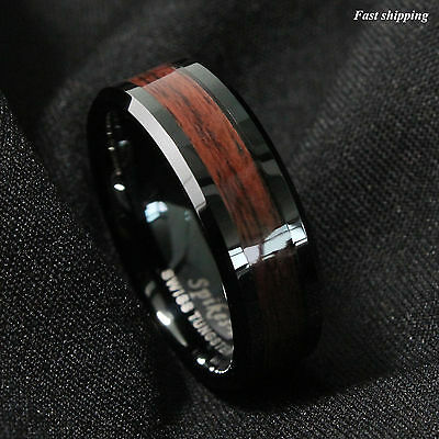 Cerise Jewelry - 8mm Black Men's Tungsten Carbide ring Red Wood Inlay Wedding Band mens jewelry