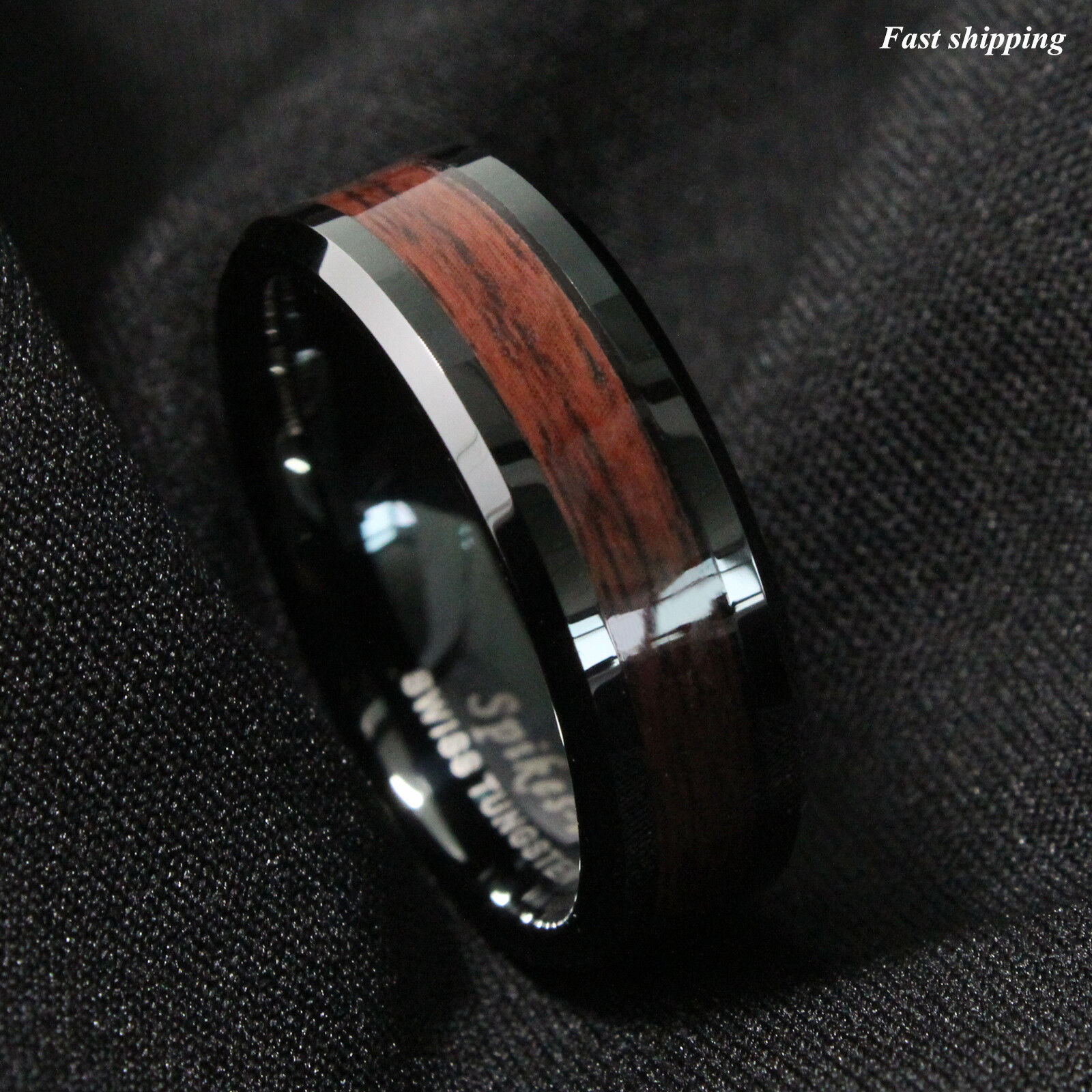 8mm Black Mens Tungsten Carbide Ring Red Wood Inl In