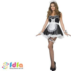 FRENCH MAID OUTFIT SET CUFFS HAT APRON & GARTER KIT - womens ladies fancy dress
