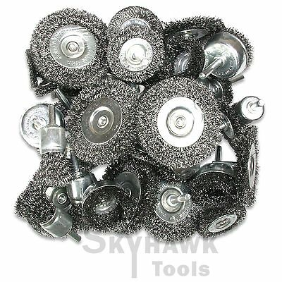 40-PC Wire Wheel Cup Brushes Assortment box lot Crimped Metal Grinding 1/4 Shank