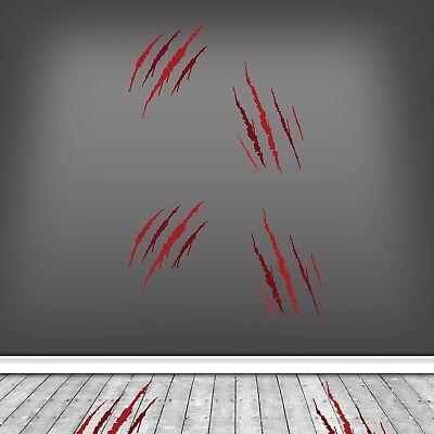 Werewolf Claw Marks Halloween Party Wall Stickers Decorations Horror Blood WSDH4 (Werewolf Claw Marks)