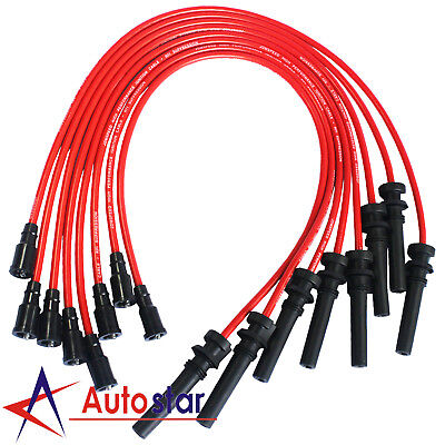 Red Silicone Ignition Spark Plug Wires For 2003-2005 Dodge/Chrysler 5.7L Hemi Hemi Spark Plug Wires