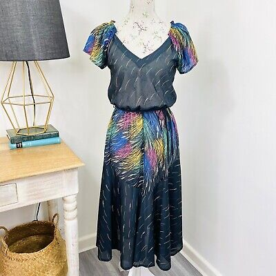 80s Dresses | Casual to Party Dresses Vintage Retro Stitches Midi Dress Rainbow Black Fit and Flare Sheer Size 10 $42.91 AT vintagedancer.com