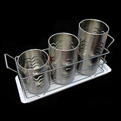 Stainless Cylinder Cutlery Storage Holder With Water Tray Set Kitchen Organizer