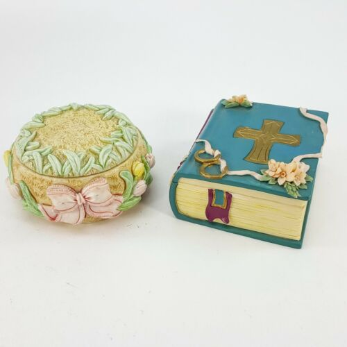 Vintage Little Cheesers Trinket Box Set Bible w/ Cross & Easter Spring Tulips
