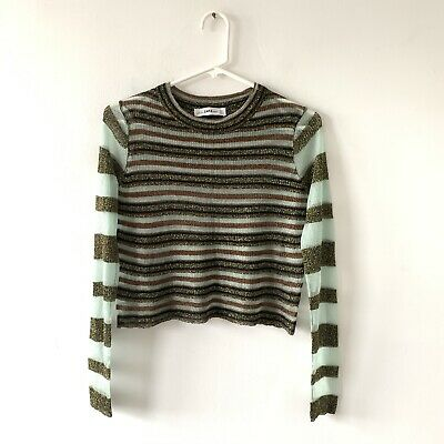 Zara Knit Lurex Metallic Striped Crewneck Cropped Long Sleeve Top Size Small