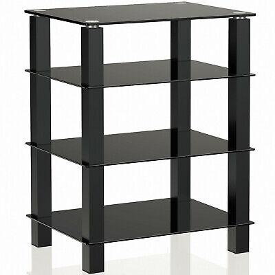 Tv-rack (TV Rack Hifi Regal Audio Schrank mit schwarz Glas und Alu)