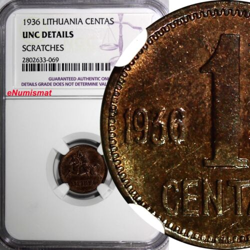 Lithuania Bronze 1936 1 Centas NGC UNC DETAILS1 YEAR TYPE KM# 79