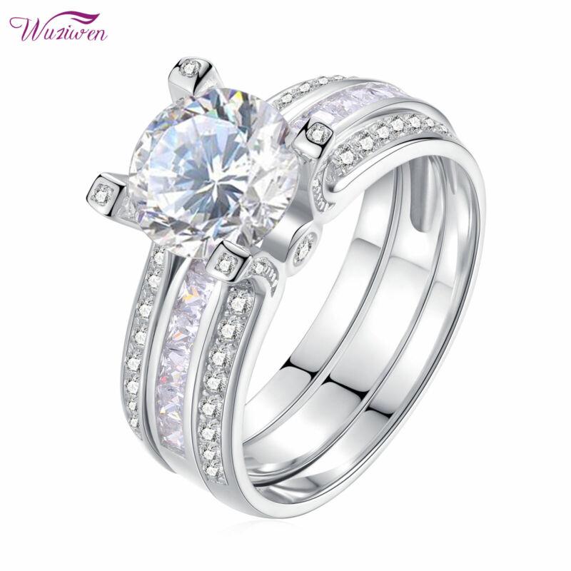 Wuziwen Wedding Engagement Ring Set For Women 3ct Round White Cz Sterling Silver