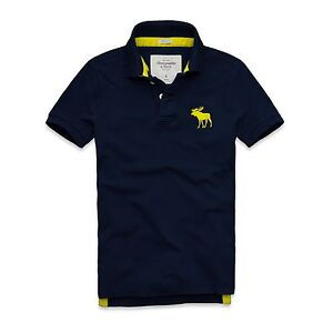 New Mens 2013 Abercrombie & Fitch Polo Shirt Navy T-Shirt All Sizes Top Muscle