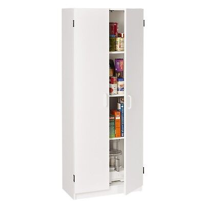 White Two Door Kitchen Utility Cabinet Storage Pantry 2 of 4 Adjustable Shelves