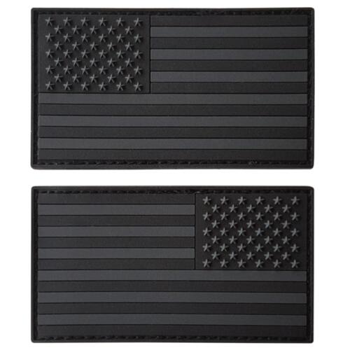 set of 2 american USA flag PVC rubber all black dark ACU hook&loop patches