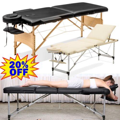 Mobile Alu Holz Massageliege Massagetisch Massagebank klappbar Schwarz Beige Bag