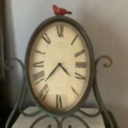 Antique Rustic Clock Green Destress Old Town Clock Country Primitive New Standa