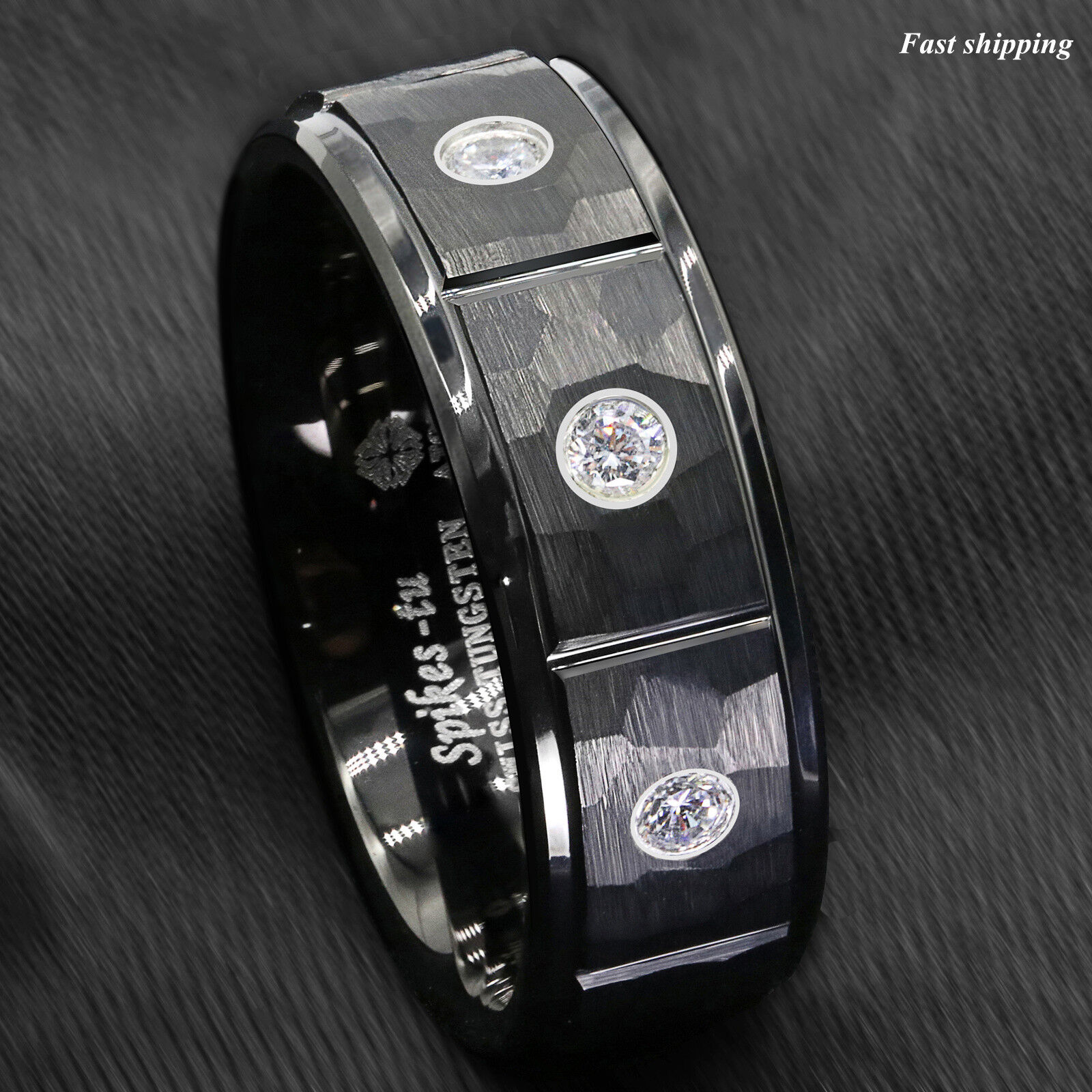 8mm Black Brushed Rock Skin Tungsten Ring 3 Diamonds Inlay A