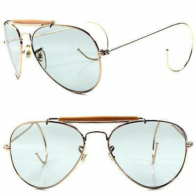Classic Retro Old Fashioned Light Tint Lens Flexible Ear Wrap Gold (Old Fashioned Sunglasses)