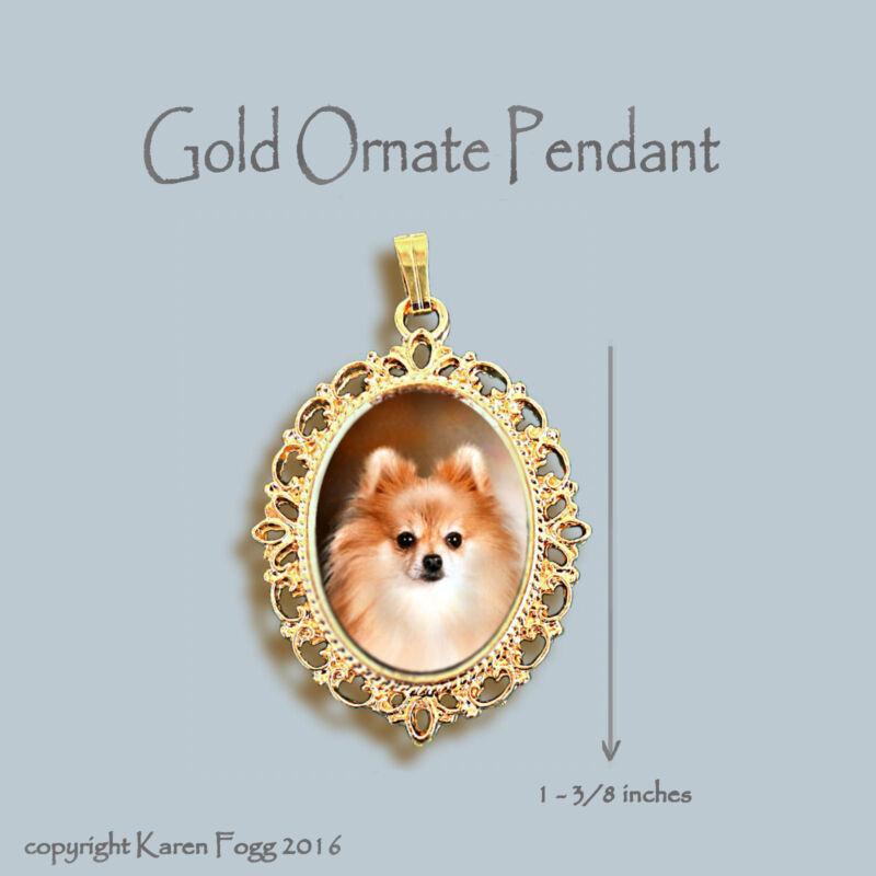 POMERANIAN DOG Red POM - ORNATE GOLD PENDANT NECKLACE