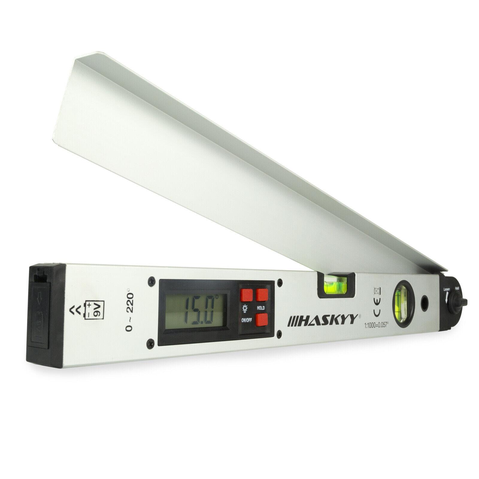 Digitaler LCD Winkelmesser mit Wasserwaage LCD-Display 450 mm Gradmesser messen