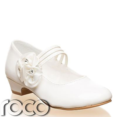 Mädchen Elfenbein Schuhe, Kommunion Ball Blumenmädchen Kinder Schuhe
