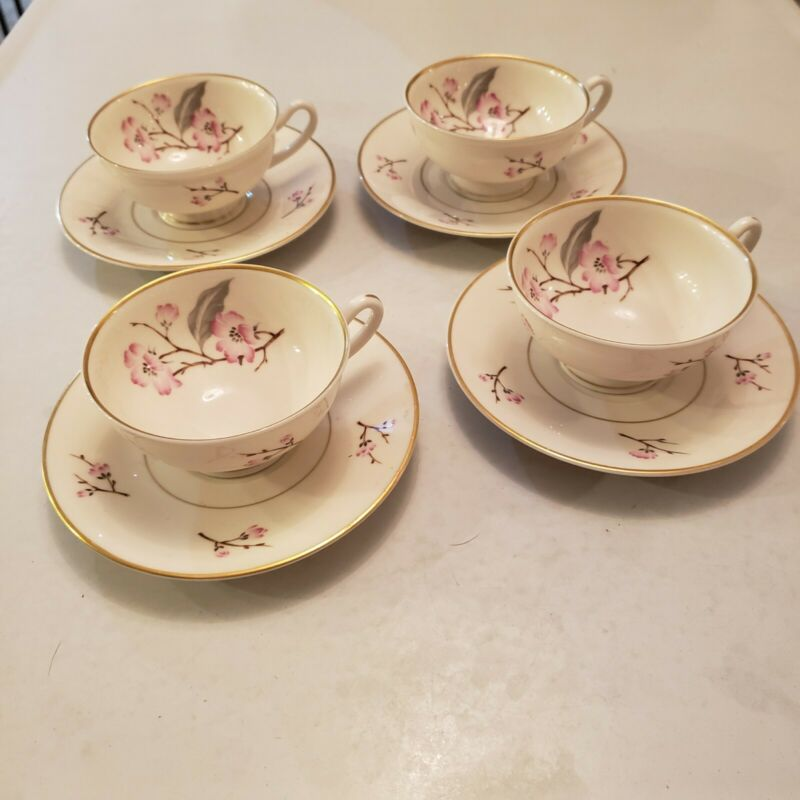 Set Of 4 Footed Cups And 4 Saucers Jubilee(Pink Flowers) By Syracuse China