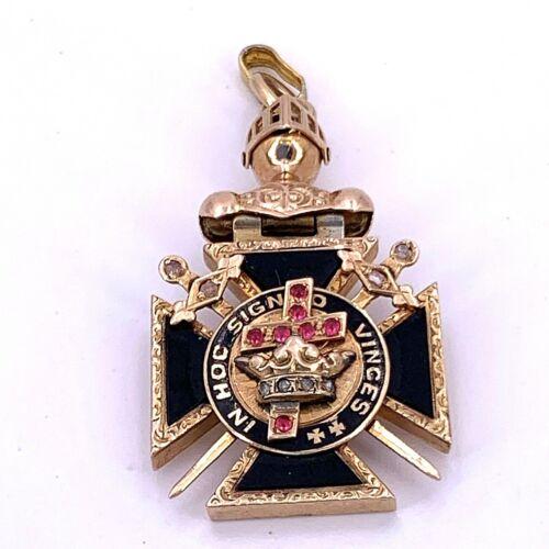 "Knights Templar Masonic ""In Hoc Signo Vinces"" Fob Pendant"