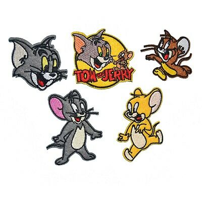 Tom And Jerry For Kids (5-PACK Tom and Jerry Iron On Patch Embroidery Applique Badge for Cloth Hats)