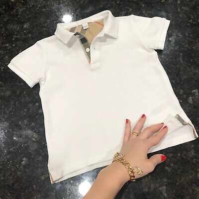 4 Years ( 3Y +) Authentic Burberry Toddler Boys Polo T-shirt White Check Detail