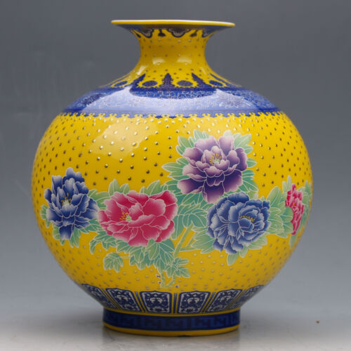 Chinese Collection Colourful Porcelain Painted Vase w Qianlong Mark  G020