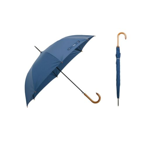 Krago Wooden Handle Umbrella Windproof Auto Open Rainproof Cane Stick (Blue)
