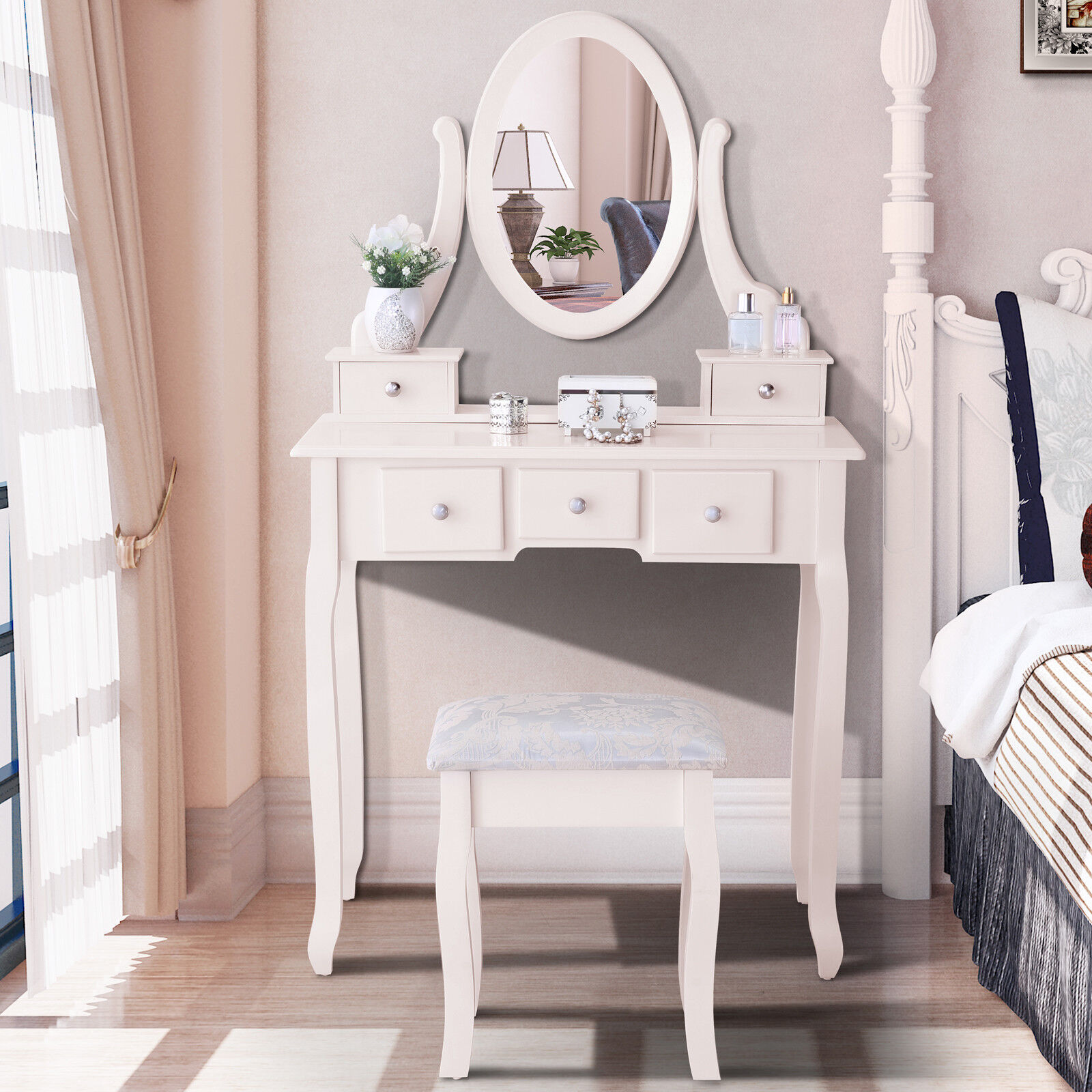 Luxury White Makeup Mirror Dressing Table Set Desk With Stool 5 Drawers