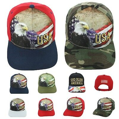 US Flag Baseball Cap USA Eagle American America Hat CAMO Hats Fashion Caps ()