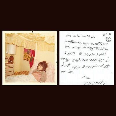 GIRL SICK IN BED CHRISTMAS STOCKING BIBLE MYSTERY MESSAGE PEACE SIGN VTG PHOTO ()