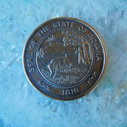VINTAGE 1966 STATE of  INDIANA SESQUICENTENNIAL BRONZE MEDALLION 1816-1966