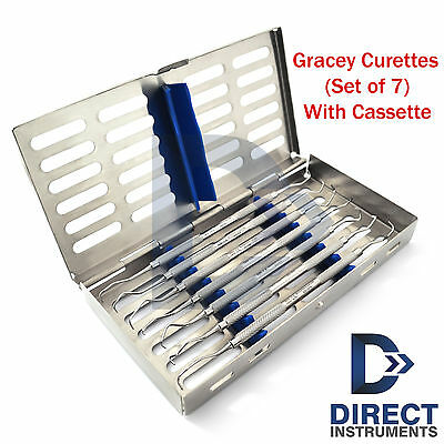 7 Pieces Dental Instruments Cassette Box Tray With Periodontal Gracey Curettes