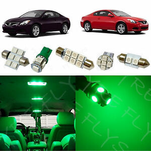 8x Green Led Lights Interior Package Kit For 2008 2013 Nissan Altima Coupe Na2g