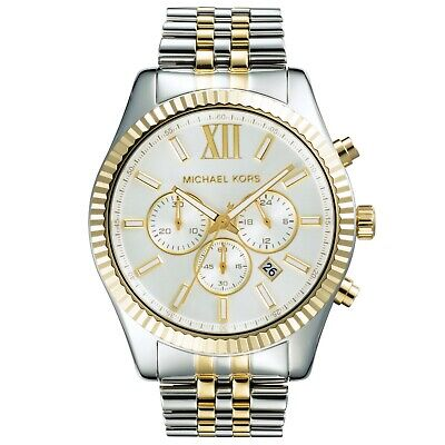 Michael Kors Mens MK8344 chronograph Watch gold and silver strap and case