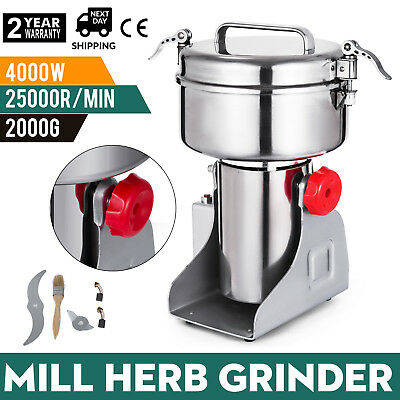 2000g Electric Herb Grain Mill Grinder 70~300Mesh 110V 28000R/M Stainless Steel