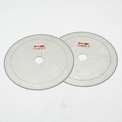 "2Pcs 6"" inch 150mm Super-Thin Diamond Lapidary Trim Saw Blade Cutting 0.53mm Rim"