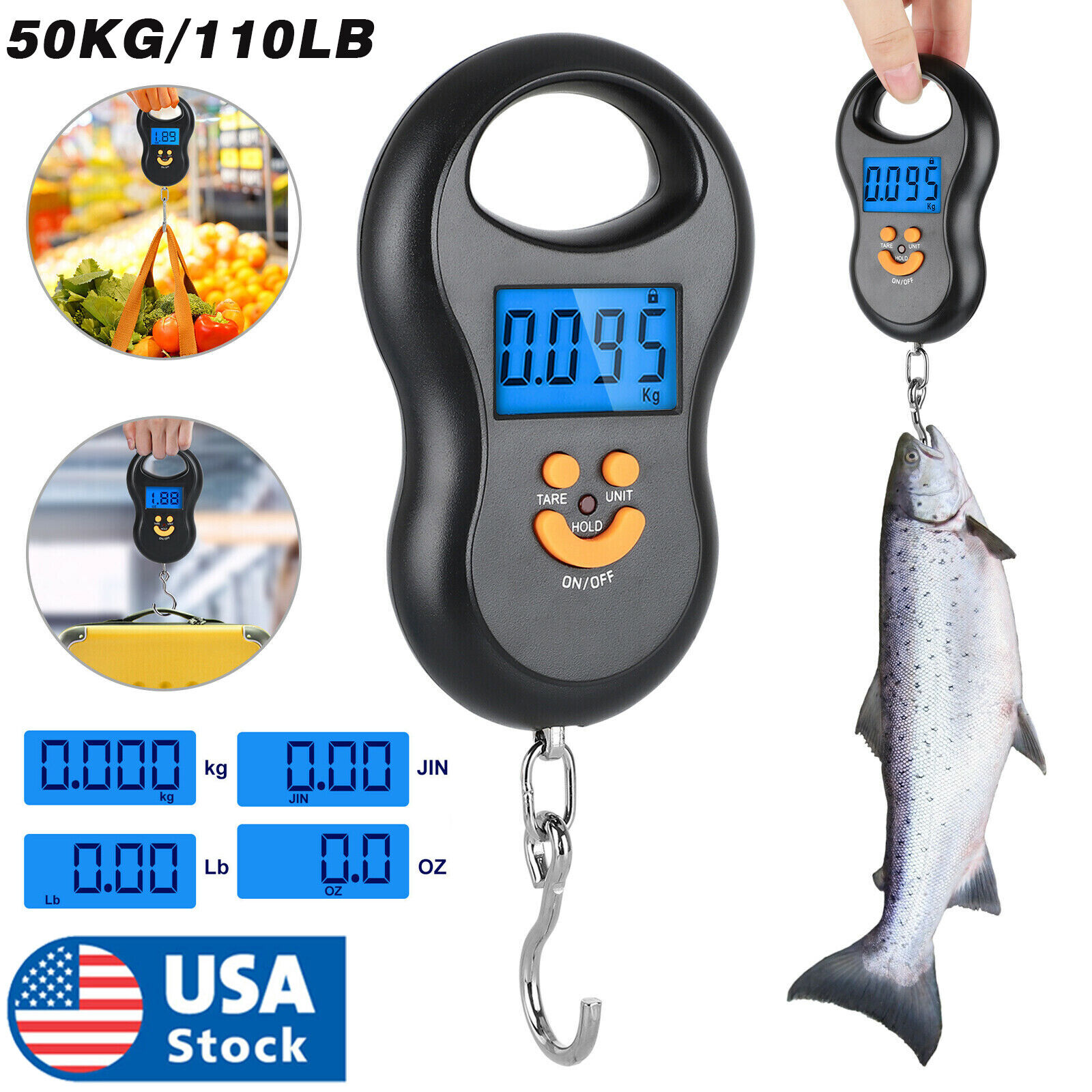 Digital Fish Scale Postal Hanging Hook Luggage Weight LCD Mini Portable 110 lb Home & Garden