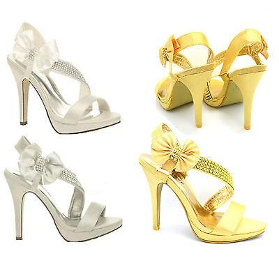 Donna nozze sera ballo scarpe tacco alto con plateau sandali da sposa f8815