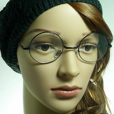 RETRO Round Oversized Circle Metal Frame Trendy Clear Lens Eye Glasses - Black Circle Glasses