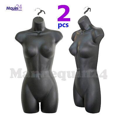2 Pack Mannequins - Female Torso Hanging Dress Forms Black
