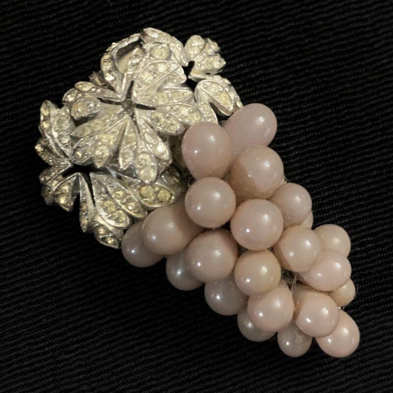 """Vtg Art Deco Art Nouveau Blown Glass Purple Grape Bunch Dress Clip Etched 2"""""""