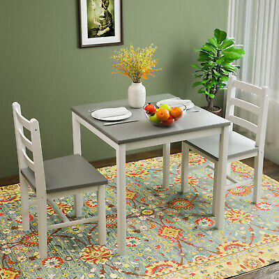 3PCS Wood Dining Table Set, Square Table w/ 2 Chairs for Kitchen Furniture Grey