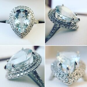 NEW- 14K White Gold 3.2 ct Aquamarine & Diamond Ring Appr  $3160