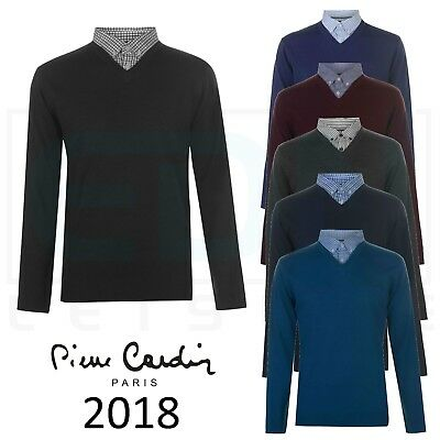 Mens Jumper Mock V Neck Sweater Pierre Cardin Top Casual Pullover Knitwear Shirt